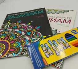Lot Of 2 Adult Coloring Books Plus Box of Colored Pencils Ma