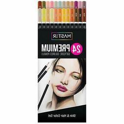 Master 24 Colored Pencil Skin, Hair Color Set, Soft Core Pre