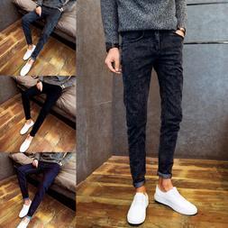 Men's Denim Pants Jeans Skinny Pencil Slim Fit Trousers Cacu