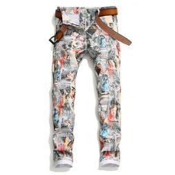 Men's Fashion 3D Leaf Printed White Jeans Slim Fit Stretch P