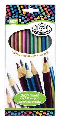 Royal Langnickel 12 pc METALLIC COLOR Colored Pencils Drawin
