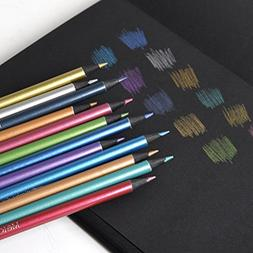 Metallic Colored Pencils Non-toxic Black Wood Drawing Pencil