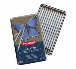 Derwent Metallic Watersoluble Pencil Tin Set of 12 Assorted