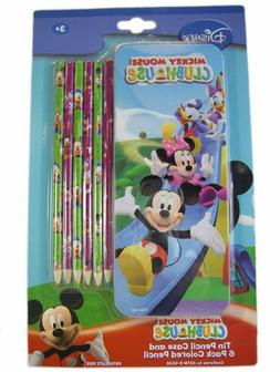Mickey Mouse Club Tin Pencil Case and 6 Pack Colored Pencil