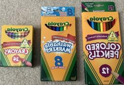 MIxed Lot of Crayola Colored Pencils Washable Markers Crayon