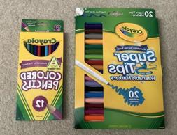 MIxed Lot of Crayola Colored Pencils And Super Tips Washable