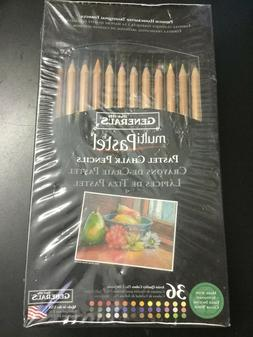NEW FACTORY SEALED General's Multi Pastel Chalk Pencils 36 C