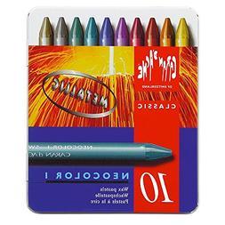 Neocolor I Water-Resistant Wax Pastels, 10 Metallic Colors
