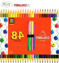 COLLEEN Neon Colored 24 Pencil 48 Color Hexagonal Box Double