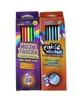 Neon Bright & Metallic Shiny Core Colored Pencils 16 TOTAL N