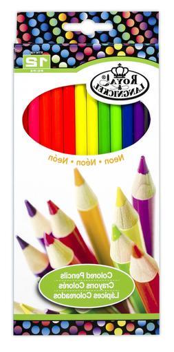 Royal Langnickel 12 pc NEON COLOR Colored Pencils Drawing Se