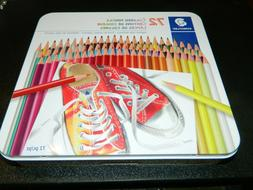 New STAEDTLER 175 M72A6 Colored Pencils w/ Tin, Assorted Col