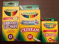 NEW Crayola Colored Pencils , Crayons, and Markers combo art