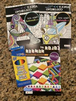 NEW! SET OF 3 Bendon Adult Coloring Books With Colored Penci