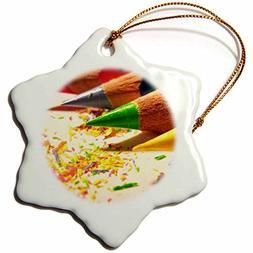 3dRose orn_23423_1 Colored Pencils Porcelain Snowflake Ornam