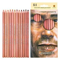 Pastel Pencils Wood Skin Tints,Colored Pencils, Portrait Set