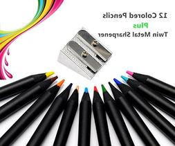 Wekoil Colored Pencil Set Soft Core Pre-sharpened Black Wood