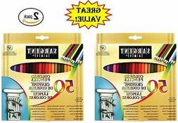 Sargent Art 50x2 22-7251 Colored Pencils, 2 Packs of 50, Ass