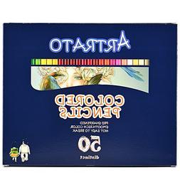 Artrato Colored Pencils, 50 Colored Pencils, Soft Core Color