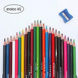 DKY Adult Coloring Colored Pencils 24 Colored Pencils with P