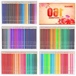 Soucolor 160 Colored Pencils Set Artist Drawing Coloring Pen
