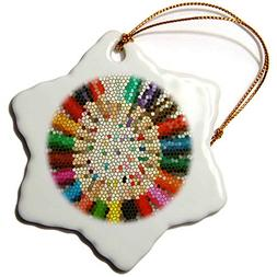 3dRose Colored Pencils in Stained Glass Snowflake Ornament,