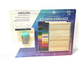48 Colored Pencils with Sharpener and Zipper Carrying Case