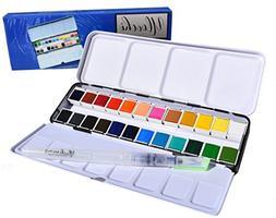 Portable Painting Kit Watercolor Art Paint Set 24 Colors Box