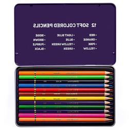 Premium Quality Colored Pencils, Assorted Colors, Set of 12