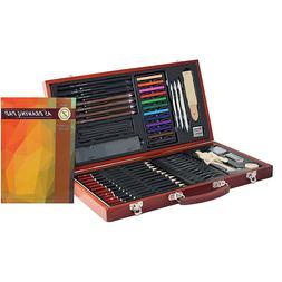 Professional Art Drawing Sketching Set 58 Pcs Wooden Box Col