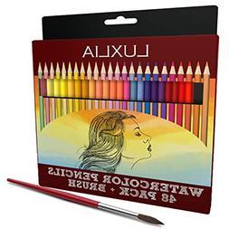 LUXLIA Professional Watercolor Pencils, Set of 48, Multi Col