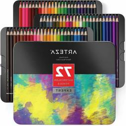 ARTEZA Professional Watercolor Pencils, Set of 72, Multi Col