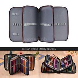 PU Leather Bag Color Pencil Pen Case Pouch  72 Slot Holder B