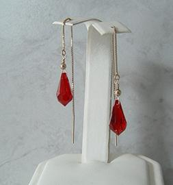 Red Crystal Pencil Gold Filled Threader Earrings Teen Girl W