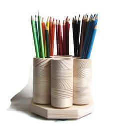 DESKTOP Rotating Colored Pencil Holder Desk Organizer, Holds