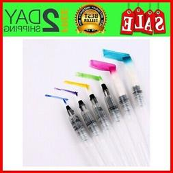 set of 6 aqua painting brushes