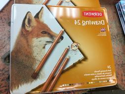 Derwent Soft Drawing pencils Tin box set 24 Genuine ARTISTS