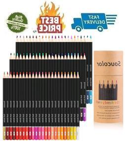 Soucolor 72-Color Colored Pencils Soft Core Art Coloring Dra
