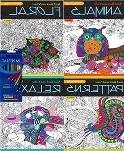 Stress Relieving Adult Coloring Book 4-Pack Plus 12 Colored