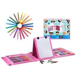 H&B Kids Art Supplies 208-Piece Double Sided Trifold Easel A