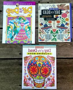 Three DAY OF THE DEAD Coloring Books for Grown Ups