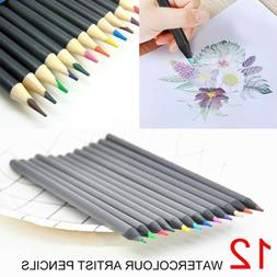 US 12 Colors Watercolour Artist Colored Pencils For Drawing