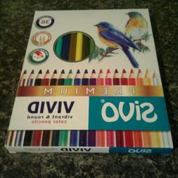 Sivo Vivid Color Pencils Vibrant & Round 4mm Lead 36 Count B