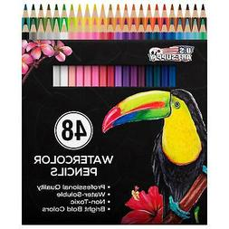 US Art Supply 36 Piece Water Soluble Colored Pencil Set Draw