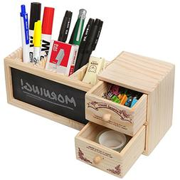 Natural Wood Office Supply Caddy / Pencil Holder / Desktop S