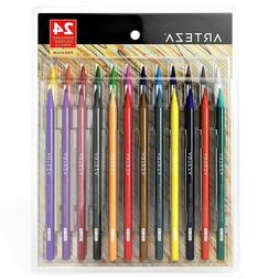 ARTEZA Woodless Colored Pencils Set of 24, Soft Core, Pre-Sh