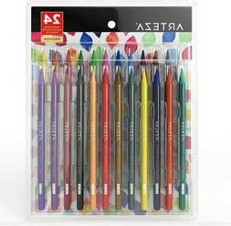 ARTEZA Woodless Watercolor Pencils, Set of 24, Multi Colored