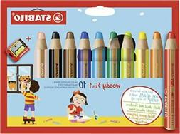 STABILO Woody 3-in-1 Colored Pencils, 10 mm Lead - 10-Color