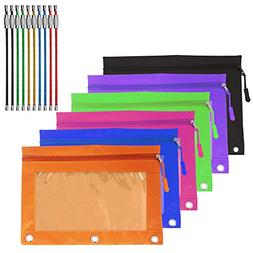 YuCool 6 Pack Zippered Binder Pencil Pouch with 6 Zipper Pul